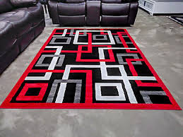 5x8 geometric rug red black white modern contemporary area rugs new