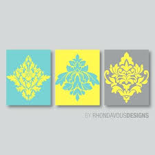 yellow gray wall art teal blue yellow gray french damask print trio home vintage grey and
