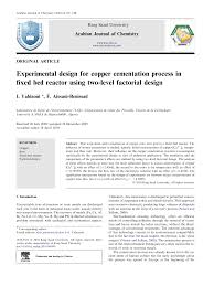 Fixed Research Design Experimental Design For Copper Cementation Process In Fixed