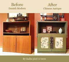 Diy modern vintage furniture makeover Metallic Diy Antique Chinese Cabinet Before After Nomadic Decorator Diy Cabinet Makeover From Danish Modern To