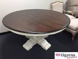 hamptons house solid hardwood timber pedestal round dining table 150cm