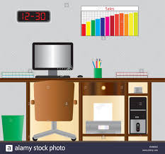 tidy office. A Detailed Vector Illustration Of An Office Desk With Computer Monitor, Printer, Computer,keyboard,mouse, Tidy, Digital Clock And Sales Chart. Tidy