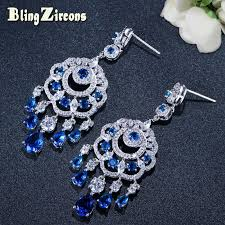 2018 blingzircons luxury big cz royal wedding jewelry blue cubic zirconia long dangle drop bridal chandelier earrings for women e182 from hongxuan003