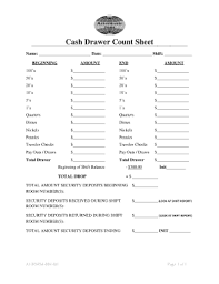 Cash Drawer Count Sheet Affordable Inns Form Fill Out