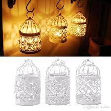 3 designs metal white hollow candle holder tealight candlestick hanging lantern bird cage ornaments decoration wedding party tool wx9 323 wall sconces
