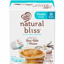 Coffee mate natural bliss sweet creme coconut milk liquid coffee creamer adds naturally delicious goodness to every cup of coffee you pour. Baker S Coffee Mate Natural Bliss Vanilla Coffee Creamer Tubs 24 Count 24 Ct 9 Fl Oz