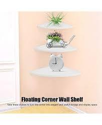 aynefy wooden corner shelf 3 pack wall