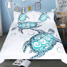 ocean turtles 3 piece bedding set cover bluee white color king size duvet and nwkzhh5260 duvet covers sets