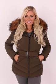 megan khaki rac fur padded coat with belt clothing from dollywood boutique uk
