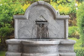 large stone garden wall fountain water feature