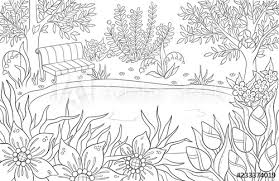 🖍 over 6000 great free printable color pages. Coloring Page For Adult And Kids Coloring Book Or Bullet Journal Summer Landscape With Bench Tees Leaves Flowers And Lake Black And White Scenery Vector Background Buy This Stock Vector And