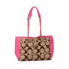 Coach Logo Monogram Large Pink Shoulder Bags DPA