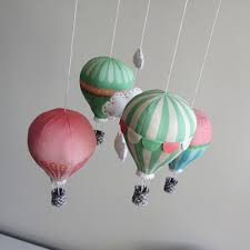 diy baby mobile kit hot air balloon pink and mint