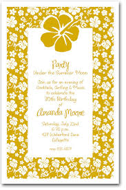 Tropical Party Invitations White Hibiscus On Gold Tropical Party Invitations