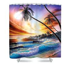 tropical beach shower curtains shower curtain featuring the digital art tropical beach by graphics licensing tropical beach fabric shower curtain