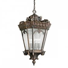ornate gothic hanging lantern for exterior use matt bronze with seeded glass