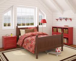 attic bedroom furniture. the red plaid bedding and beadboard walls are mixed with bold primary furniture a attic bedroom
