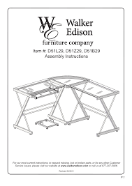 walker edison furniture d51b29 soreno l shaped computer desk user manual 10 pages also for d51z29 soreno l shaped computer desk d51l29 imperial