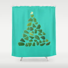 green sea glass tree on turquoise shower curtain