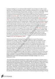 essay on emotional intelligence in the workplace coursework help essay on emotional intelligence in the workplace emotional intelligence in the workplace of this essay emotional