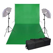 3x6m studio photography chromakey green screen background backdrop lighting kit teleprompter al