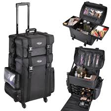 pro black 2in1 soft sided rolling makeup case train bag w drawer artist