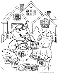Cat Teaparty Color Page Free Printable Coloring Sheets For Kids