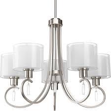 progress lighting p4696 09 5 light chandelier with white silk mylar shades