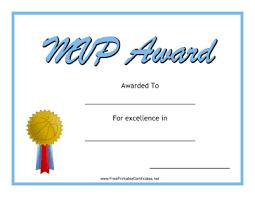 Mvp Award Basketball Printable Certificate