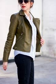 olive leather jacket los angeles style blogger wearing zara leather jacket and jins sunglasses with olive jackets