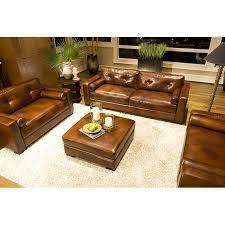 soho 4 piece rustic brown leather sofa