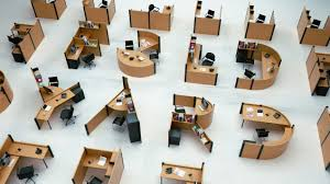 open office concept. open office cubicles replacing boring one letter at a time fold yard concept