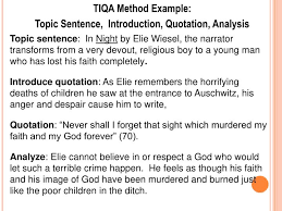 ppt tiqa method topic sentence introduction quotation  topic sentence introduction quotation analysis topic sentence in night by elie wiesel