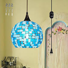 kiven plug in bohemia style chandelier shell glass lampshade pendant lighting e26 base dimmable lamp
