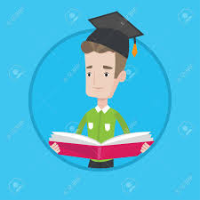 happy graduate standing with a big open book in hands smiling male student in graduation