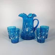 blue antique victorian water pitcher and glass set white enamel