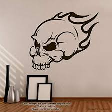 Wall Decal Size Chart Amazon Com Skull And Flame Wall Decals Burning Skull