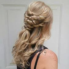 half up half down hairstyles wedding. twisted curly half updo for bridesmaids up down hairstyles wedding