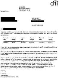 citicards debt settlement letter