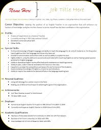 Resume Template Free Templates For Teachers English Teacher Word