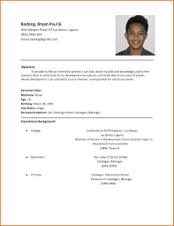 Examples Of Resumes 7 Simple Filipino Resume Format Servey How To