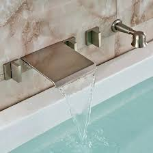 wall mounted bathtub faucets brushed nickel wall mount waterfall bathtub faucet with handheld shower wall mount