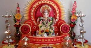 ganesh chaturthi decoration makhar and sinhasan