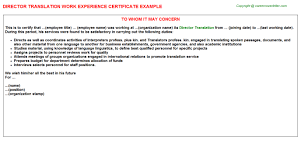 Director Translation Work Experience Certificate Experience
