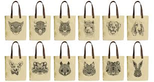 image is loading drawing of animals beige printed canvas tote bags