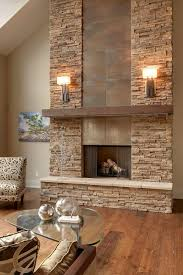 designs ideas rustic modern interior with rustic fireplace under modern wall sconces near glass coffee
