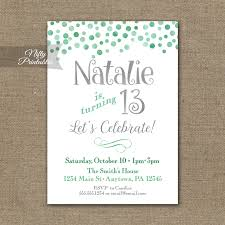 mint confetti birthday invitation tween birthday party