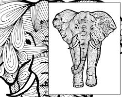 Elephant Coloring Sheet Animal Coloring Pdf Zentangle Adult Etsy