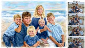 family portrait painting at the beach to paint the most flattering pose of each person in family portrait painting at the beach to paint the most flattering