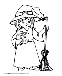 Halloween Witch Coloring Page Witch With A Broom Kokeshi